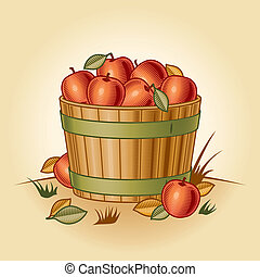 Retro bushel of apples in woodcut style. Vector illustration...