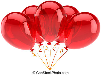 Five red party balloons translucent - Happy birthday...