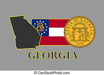 Georgia state map, flag, seal and name.