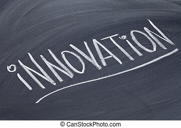innovation word on blackboard - innovation word in white...