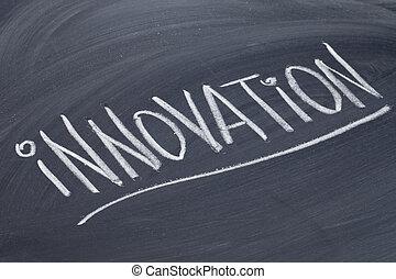 innovación, palabra, pizarra