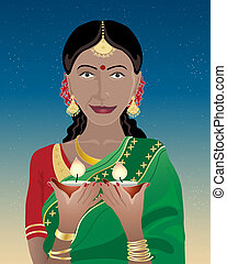 happy diwali - an illustration of an indian lady dressed in...