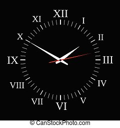 clock vector on black background