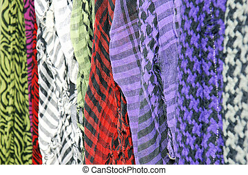 Keffieh scarves - Row of colorful keffieh or keffiyah...