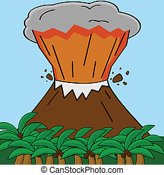Volcano - Cartoon illustration showing an erupting volcano...
