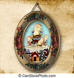 Christmas greeting cards, Santa ancient picture
