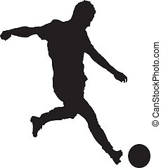 Um, homem, tocando, futebol