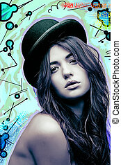 topless girl in hat - pop-art style picture of topless girl...