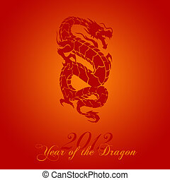 2012 Chinese Year of the Dragon on Red Background...