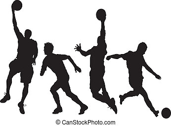 set of playiers - thour men playing basketball and socker...