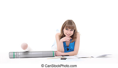girl-student prepares for employment