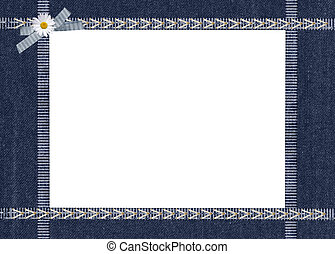 denim ribbon frame - Ribbon frame with daisy in bow on blue...