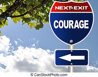 coragem, estrada, sinal