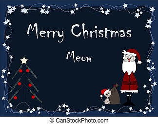 Merry Christmas - meow - santa and cat