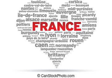 I Love France Illustration on white background