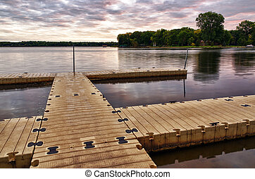 Boat Dock - A Boat Dock Early in the Morning at Sunrise