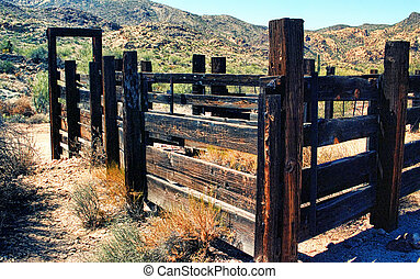Desert Corral - Old Arizona corral in the desert mountains