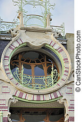 st cyr round balcony, brussels - detail of round shaped...
