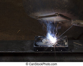 electrical welding on open hard disk drive