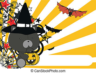 panther baby cartoon halloween background in vector format