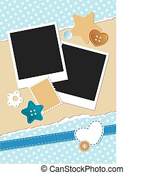 vintage frame for photos with scrapbook elements