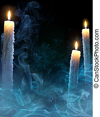 art background with candles for a Halloween party - mystical...