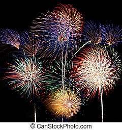 Multicolored fireworks square