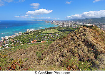 Wide-angle view of Honolulu, Hawaii - Wide-angle view of the...