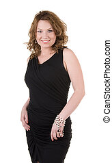 Woman in black evening dress - Mature woman in black evening...
