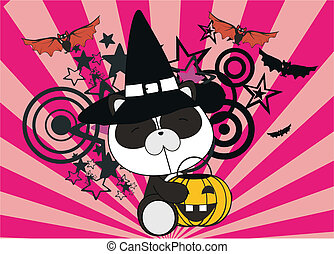 panda bear baby cartoon halloween background in vector...