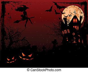 Halloween illustration of haunted