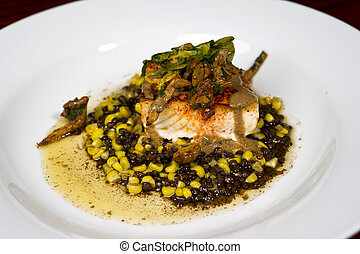 Gourmet Sea Bass - Image of a beautifully prepared gourmet...
