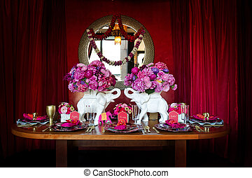 Table setting for Indian wedding - Image of a beautiful...