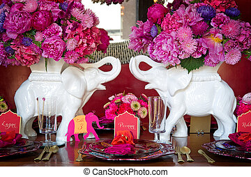 Place setting for Indian wedding - Image of a place setting...