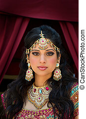 Portrait of a beautiful Indian Bride - Head and shoulder...