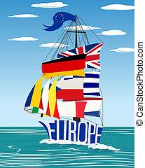 EU ship - Conceptual European Union flag ship graphic
