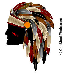 Native american indian - Native American Indian chief with...