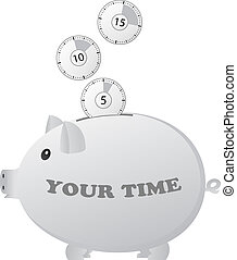 Clocks falling into the piggy bank, vector illustration