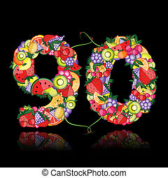 Number ninety made from fruits.