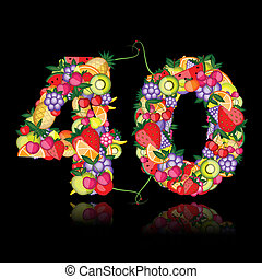 Number forty made from fruits.