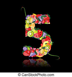 Number five made from fruits. See others in my gallery