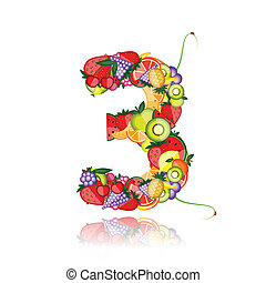 Number three made from fruits. See others in my gallery