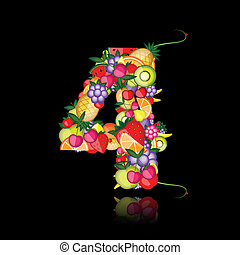 Number four made from fruits. See others in my gallery