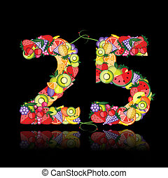 Number twenty five made from fruits.