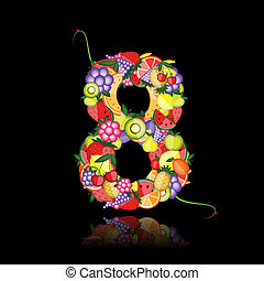 Number eight made from fruits. See others in my gallery