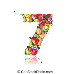 Number seven made from fruits. See others in my gallery