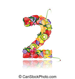 Number two made from fruits. See others in my gallery
