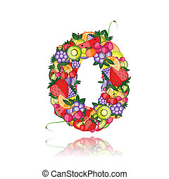 Number zero made from fruits. See others in my gallery