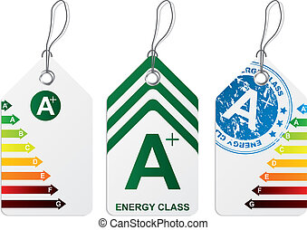 Label set with energy class charts