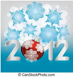 vector 2012 print on background with snowflakes and stars